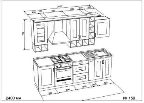 Кухни эскизы прямые