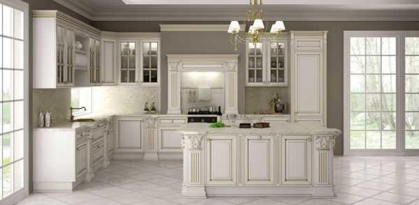 Модель угловой кухни из натурального шпона в балансе класического и современного стиля