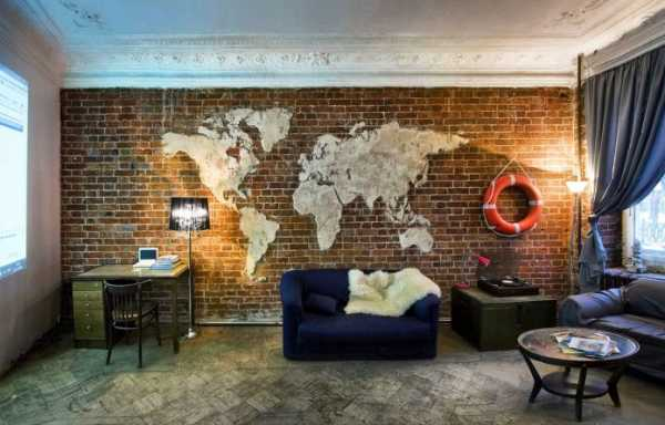 Карта мира в интерьере